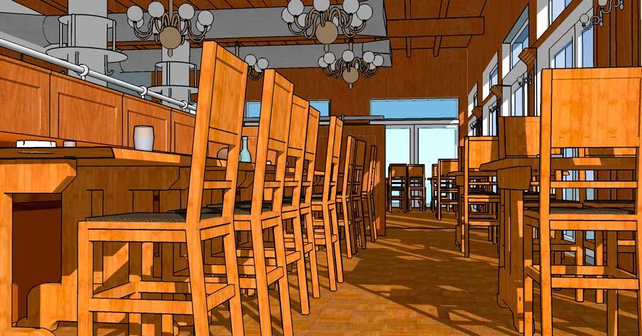 3D sketchup model af cafe i sketchup