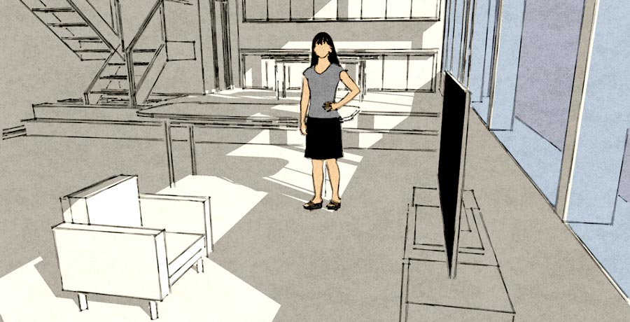 3D tegning i sketchup interior sketch style