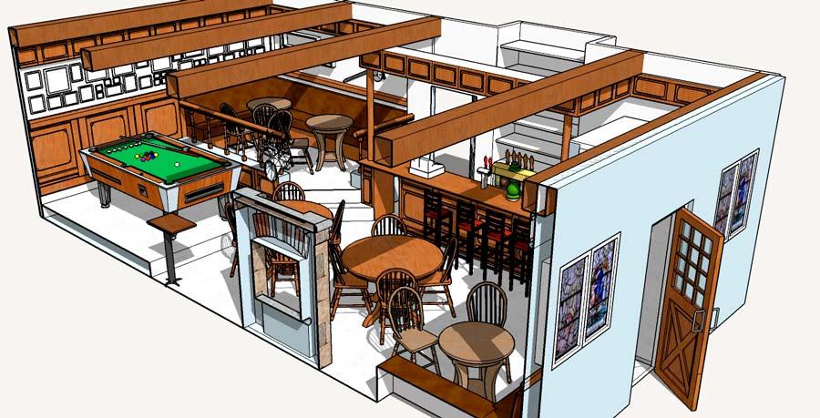 3D model af irsk pub